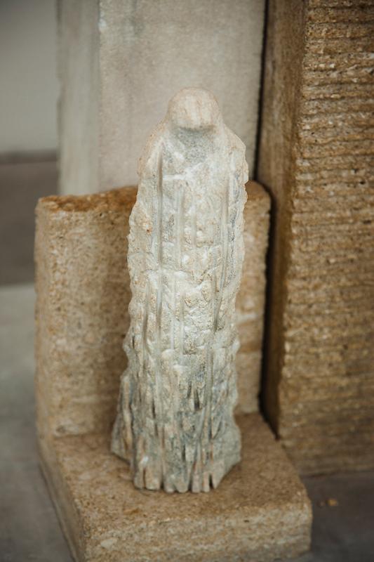 """Monk Morandi"" detail, 2013 Limestone and kiln cast glass"