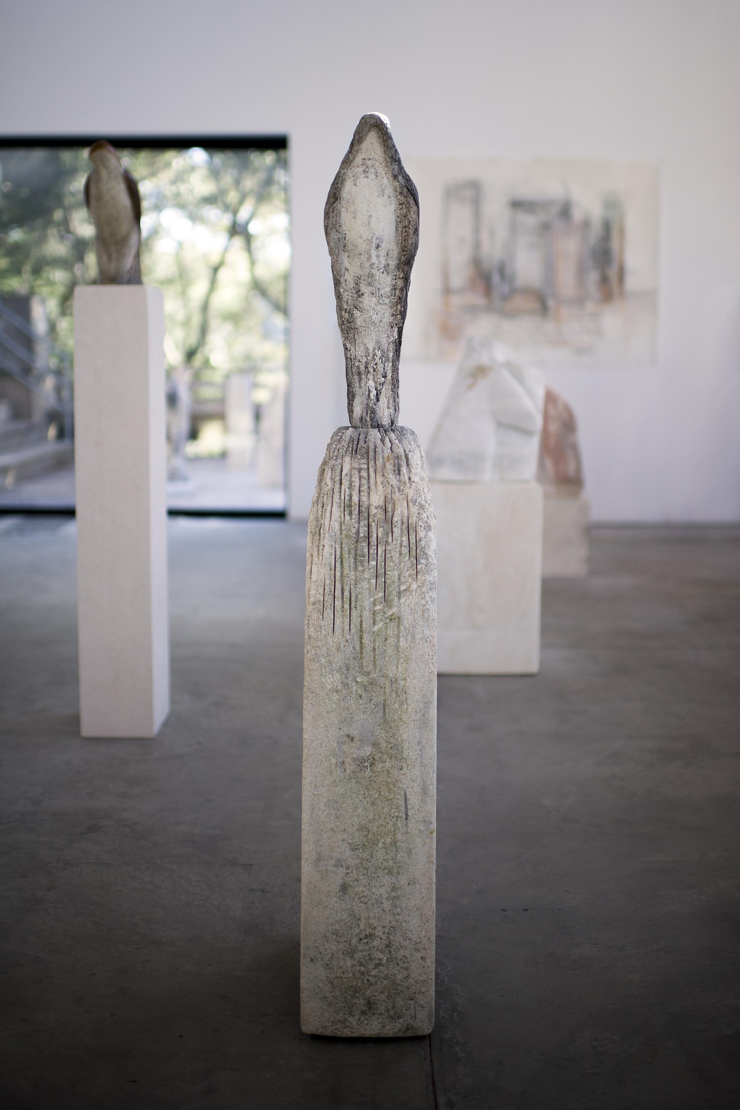 """Birdman,"" 2011-2018   Limestone and pigment   55 x 8 x 15"""