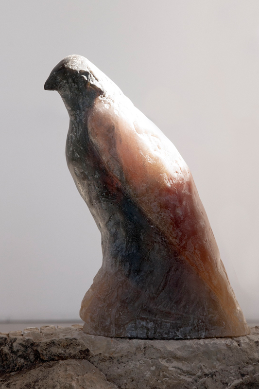 """Grey Guston,"" 2013 Kiln cast crystal & beach fossil stone 38 x 18 x 32 inches"