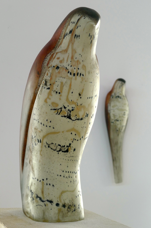 """""""Brancusi Morse Code,"""" 2013 Hand blown pigmented glass and limestone 75 x 8 x 20 inches"""