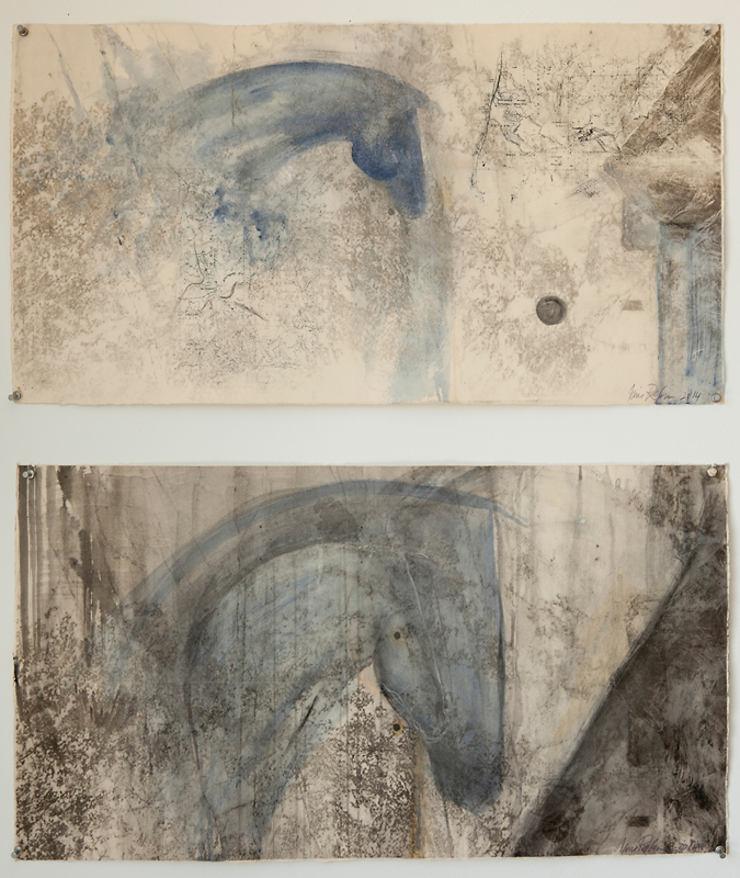 """""""Blue Tandem Diptych,"""" 2014 Italian watercolor and lithography 16 x 30 inches"""