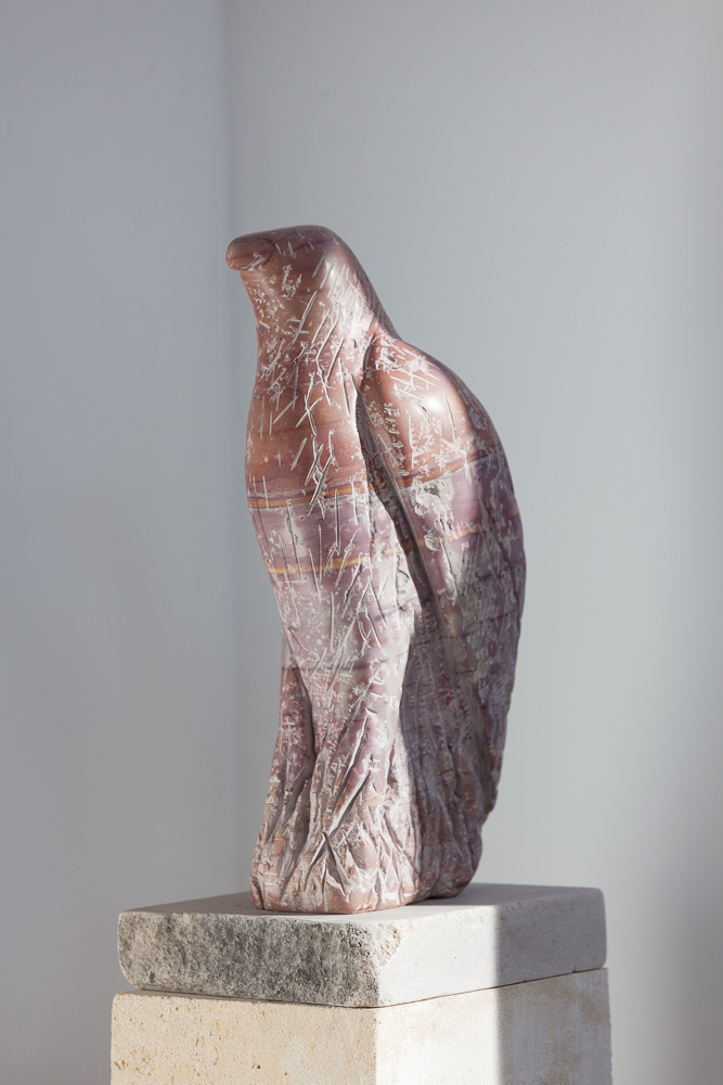 """Red Marble Hawk,"" 2015   Portuguese marble and limestone  63 x 8 x 12 inches"