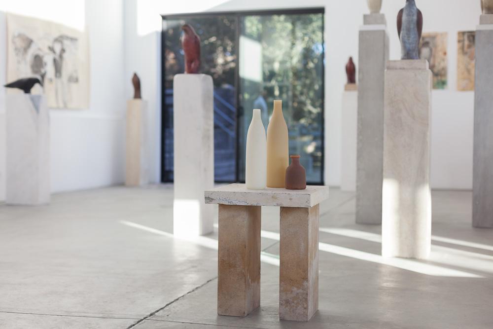 Studio installation with Morandi Balzac Table  Hand blown pigmented glass and limestone  33 x 16 x 14 inches