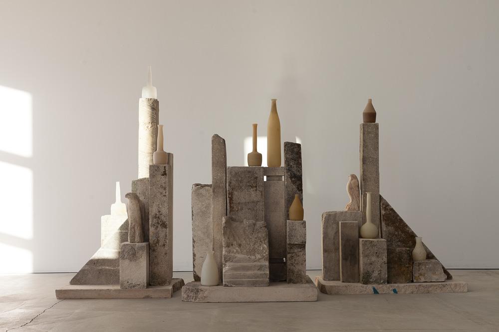"""Moss Morandi,"" 2015   Provencal limestone, kiln cast crystal and handblown glass   Installed: 55 x 94 x 28 inches"