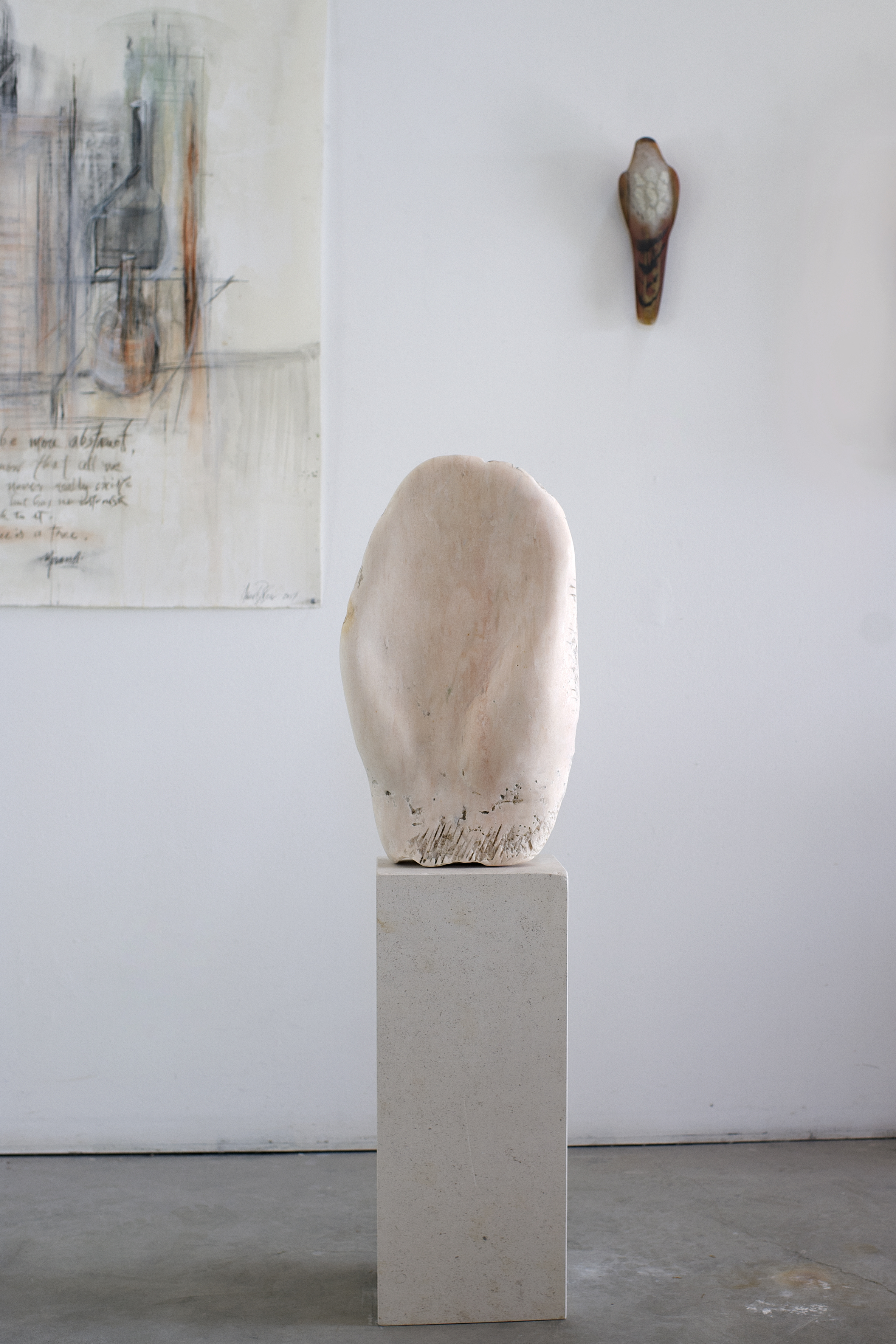 """""""Pink Hand,"""" 2018  Pink Portuguese marble and limestone   46 1⁄2 x 13 x 8 inches"""