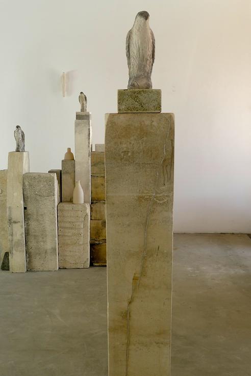 """""""Pale Goshawk,"""" 2011   Limestone and pigment   74 x 20 x 12 inches"""