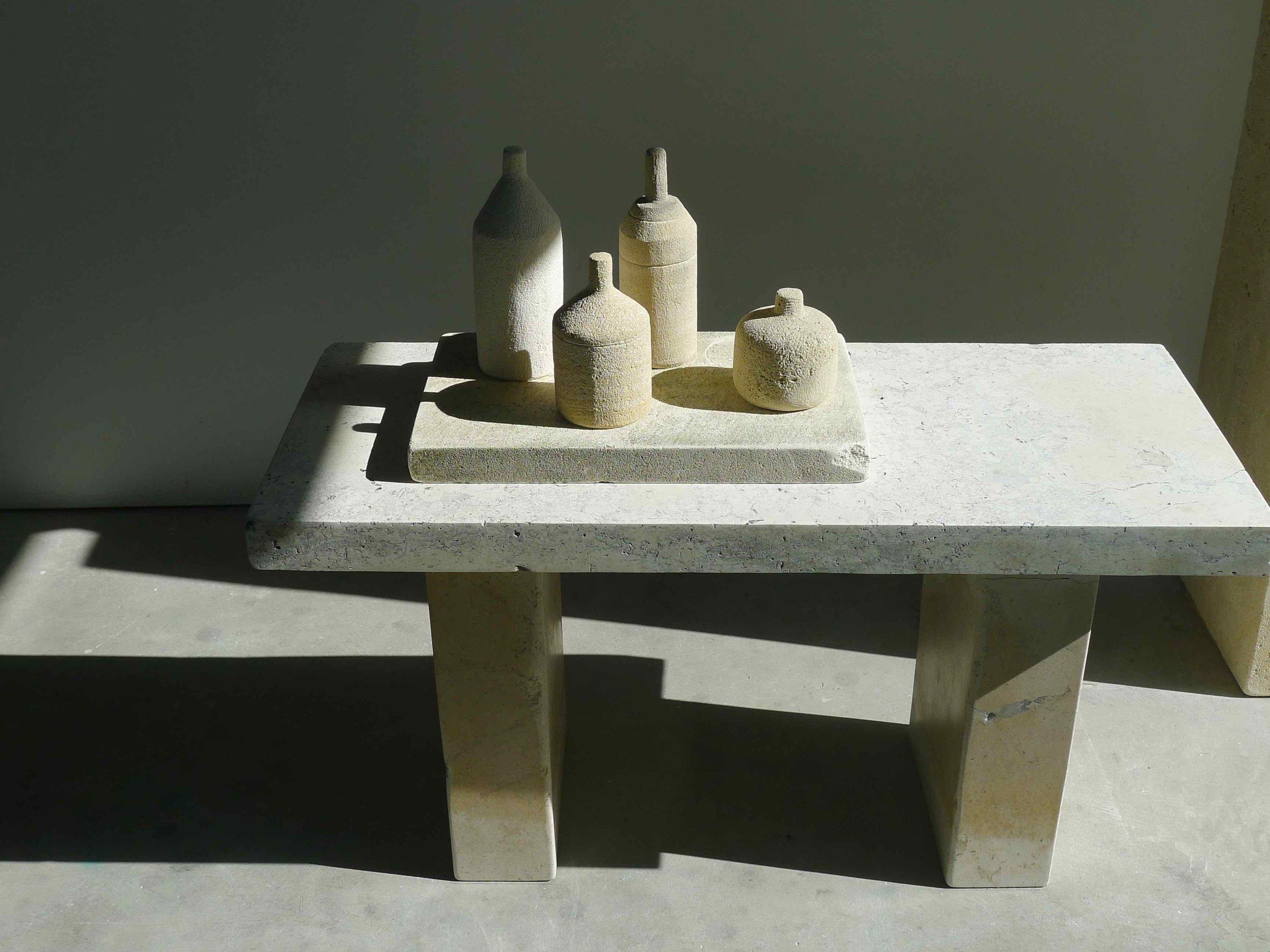 """""""Stone Morandi Table,"""" 2016   Pigmented limestone  27 x 33 x 14 inches"""