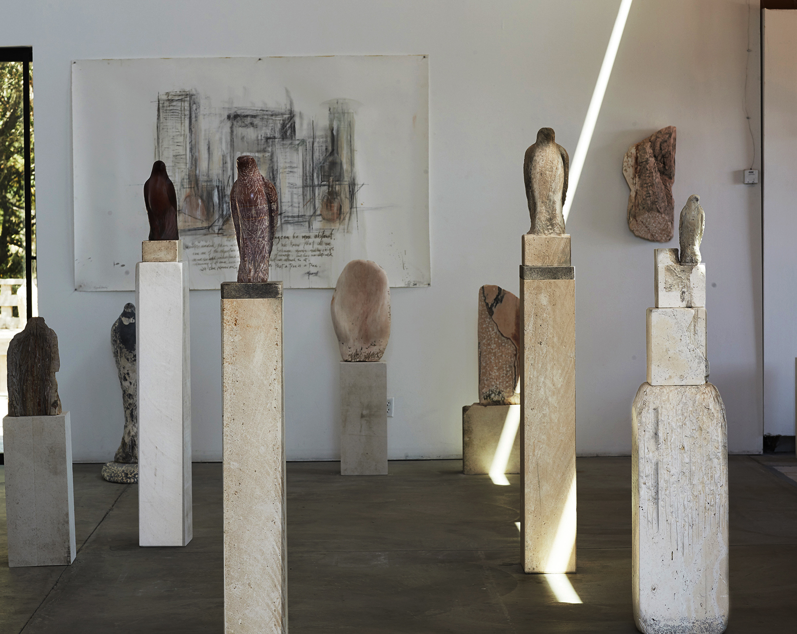 """Studio installation with """"Red Marble Hawk"""" and """"Sandman"""""""