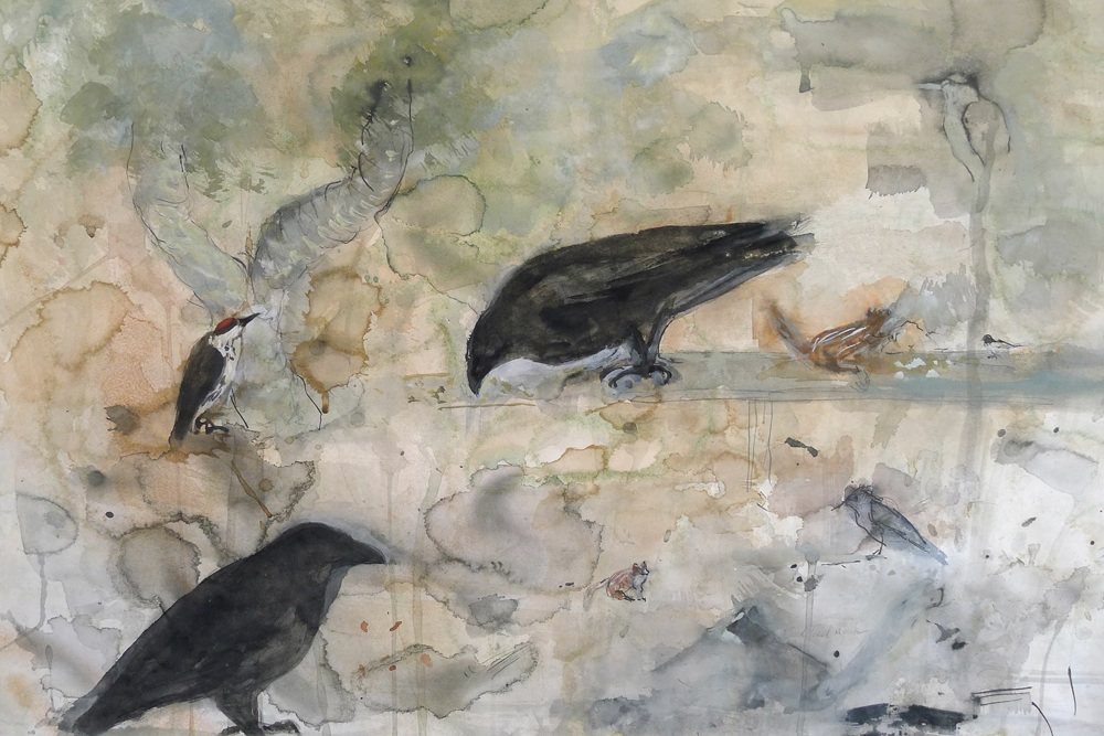 """Feeding Birds,"" 2015 Coffee, Korean watercolor, and ink 22 x 30 inches"