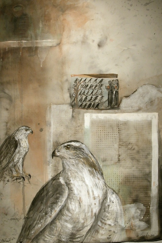 """Goshawk (St. Francis),"" 2008 Egg tempera, gouache, and ink on Arches 30"" x 22"""
