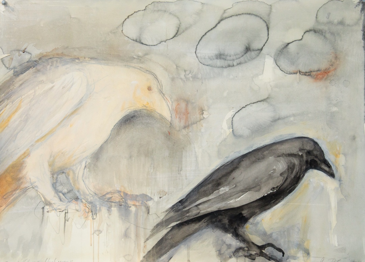 """White Raven/Black Raven,"" 2016  Coffee, sumi ink, casein and beeswax  22 x 30 inches"