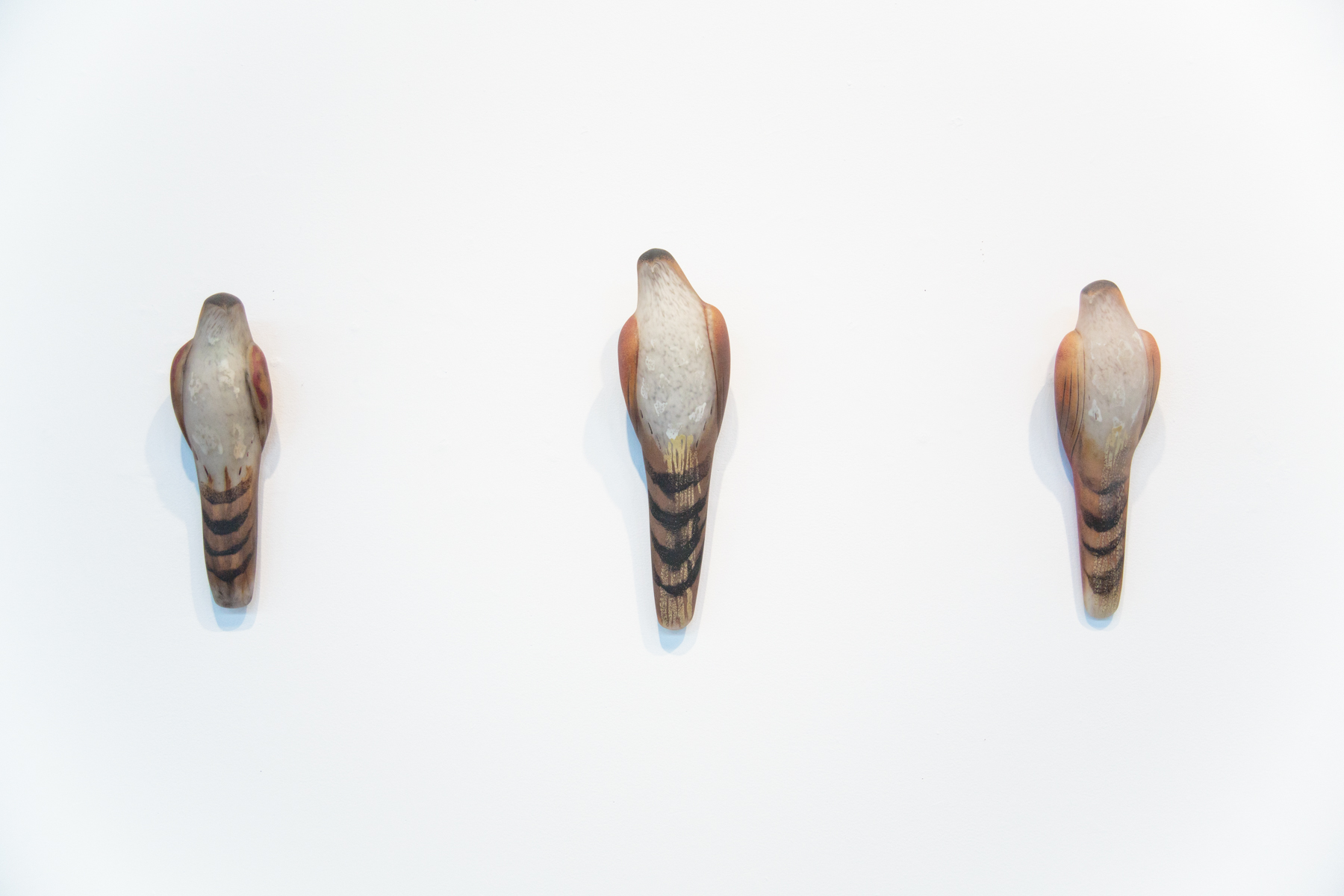 """Tobacco Lace Birds (Small, Large, Square)"", 2018 Hand blown pigmented glass Small: 14.5 x 4.5 x 4, Large: 16.5 x 5 x 4, Square: 13 x 4 x 3.5 inches"