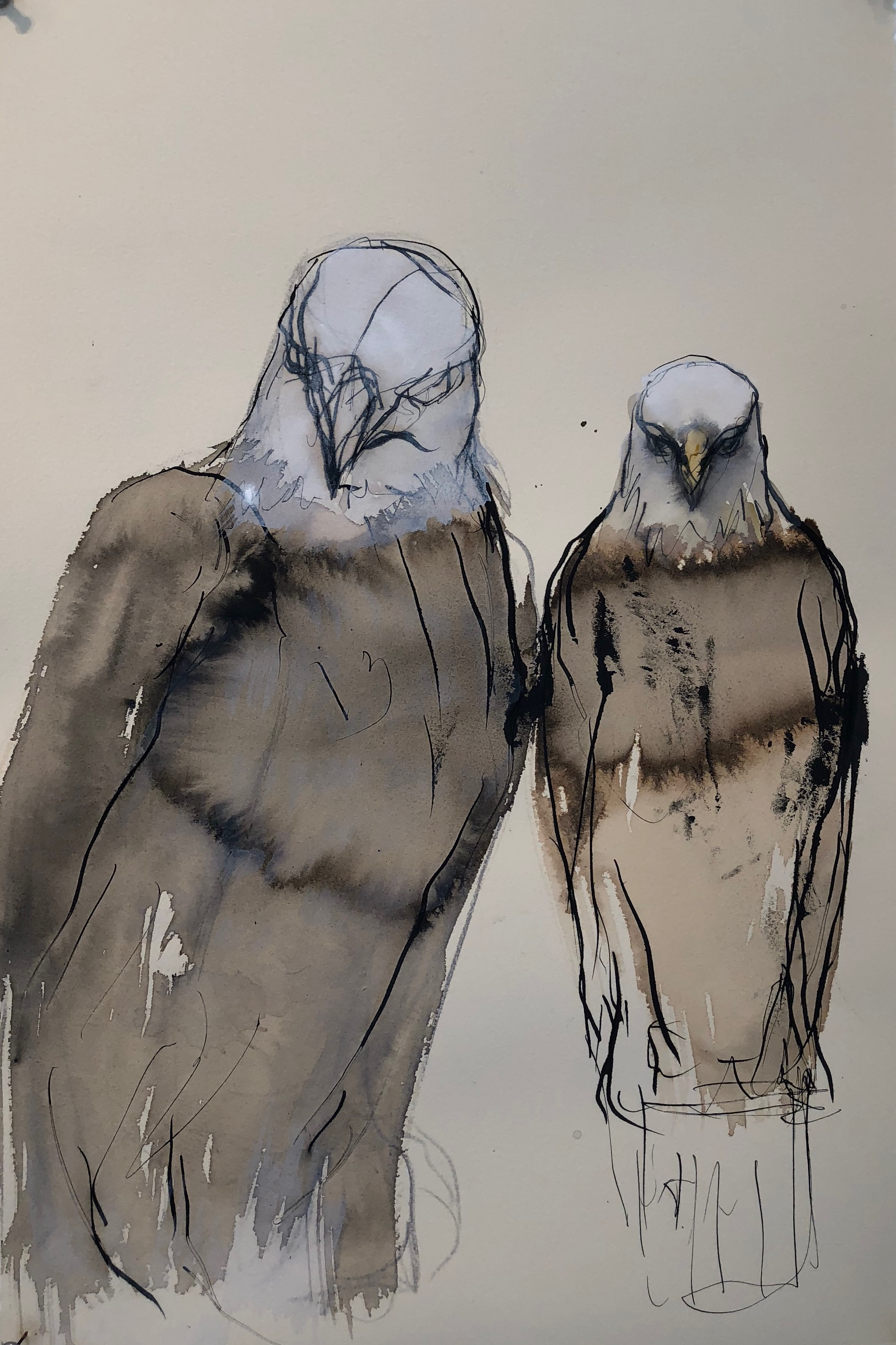 """Sumi Eagle Study,"" 2019 Sumi ink and gouache on paper 22 x 15 inches"