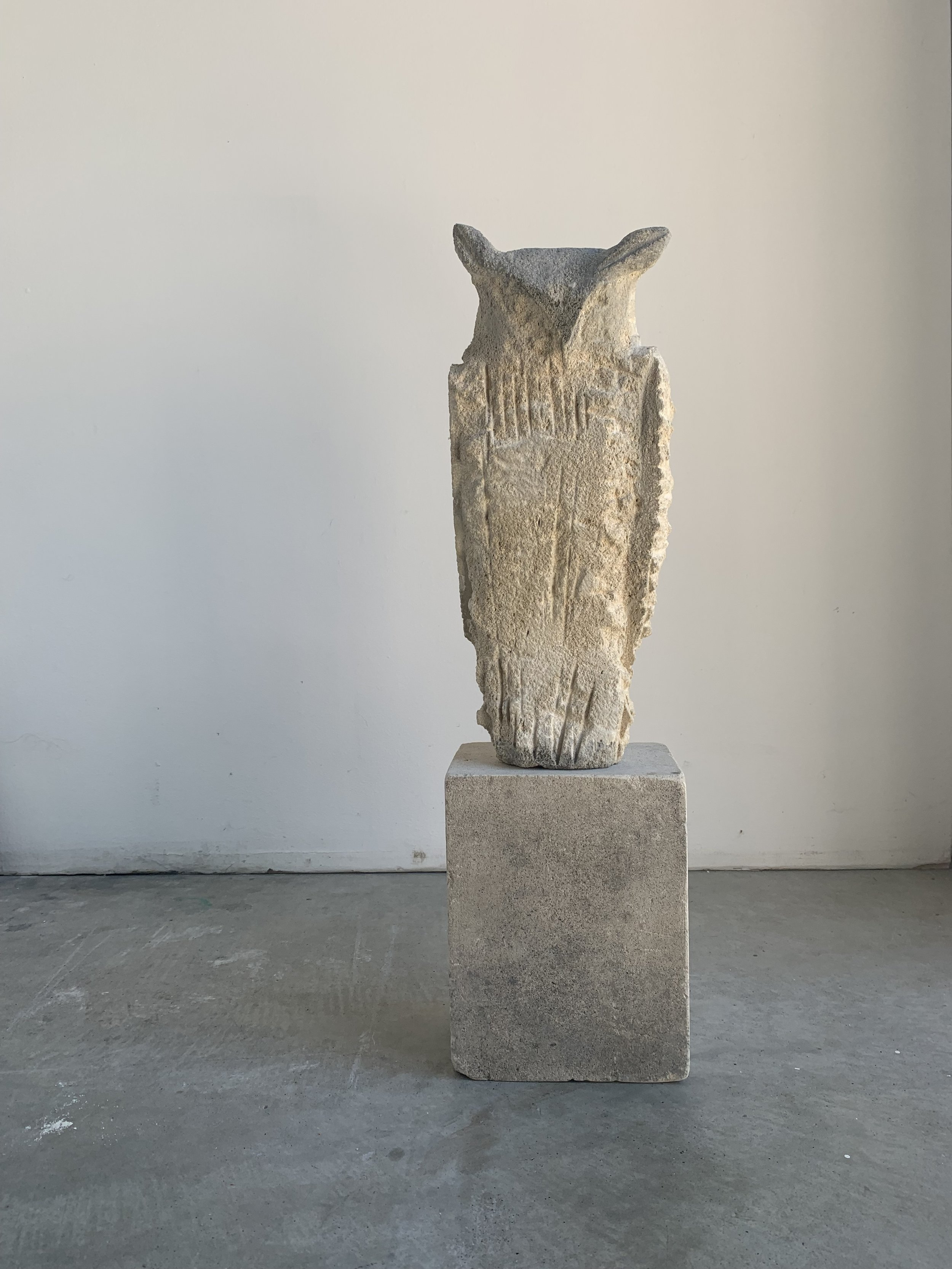 """Gesture Owl (Scruffy),"" 2019 Provencal limestone and sumi ink 22 x 6 x 5 inches"