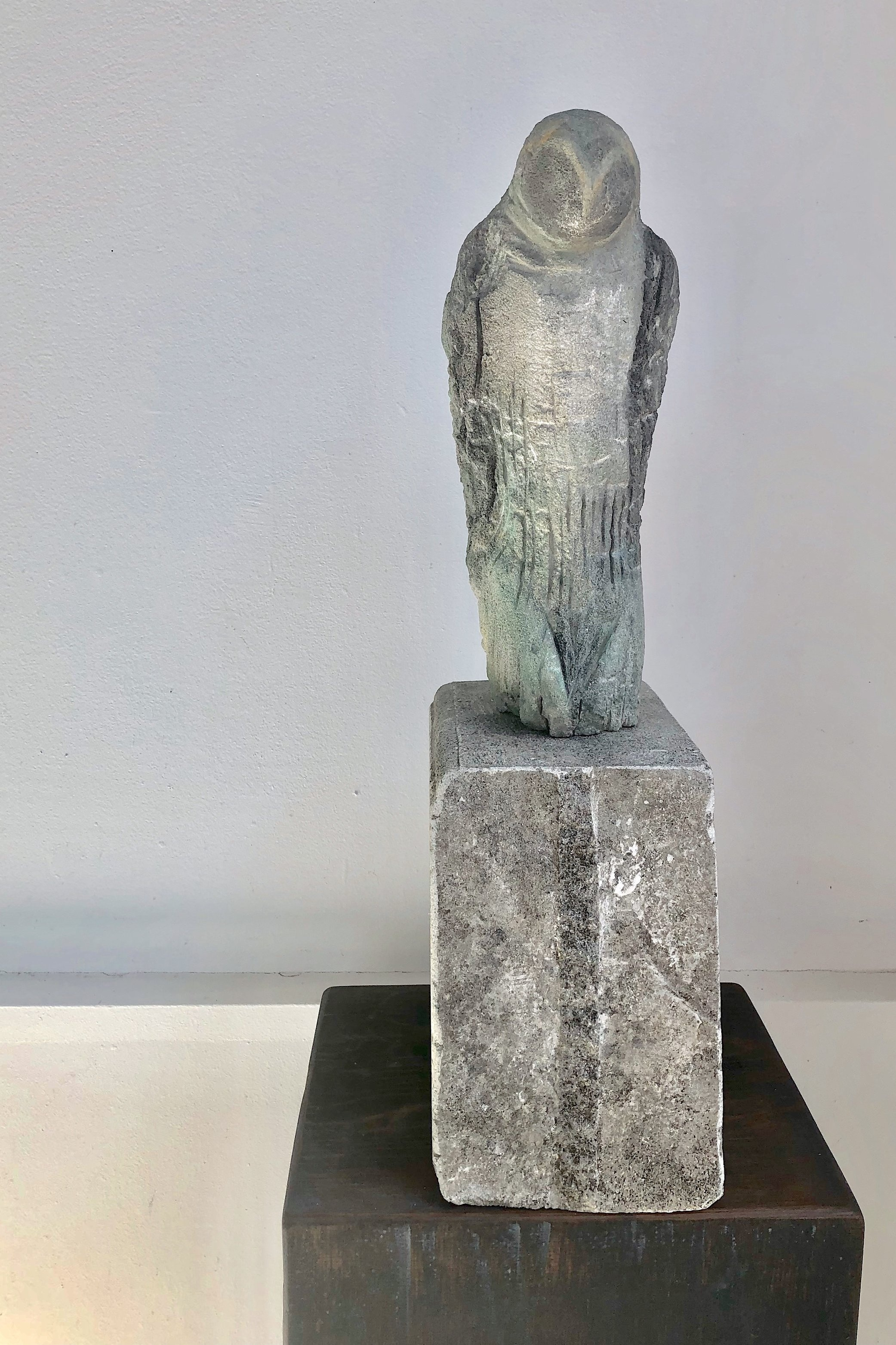 """Yellowstone Owl,"" 2019  Provencal limestone and pigment  22 x 6 x 9.5 inches"