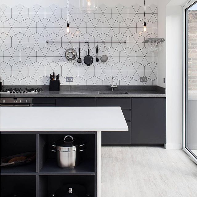The industrial kitchen; contemporary, sleek, minimalist, and fashionable. A kitchen without wall mounted cabinets can feel spacious, despite the lack of storage. This design layout is best for large open kitchens that can utilize a multitude of base cabinets. The dark grey tones of the kitchen cabinetry combined with the white and cream colors of the floor and walls creates a perfect urban environment. This is our inspiration. . . . #tribecakb #elegant #luxury #interiordesign #newyork #marble #tile #bathroom #kitchen #kitchen&bath #sophisticated #modern #contemporary #rich #remodeling #tribeca #designer #archidigest #architecture  #building #black #nyc #brookyln #lifestyle