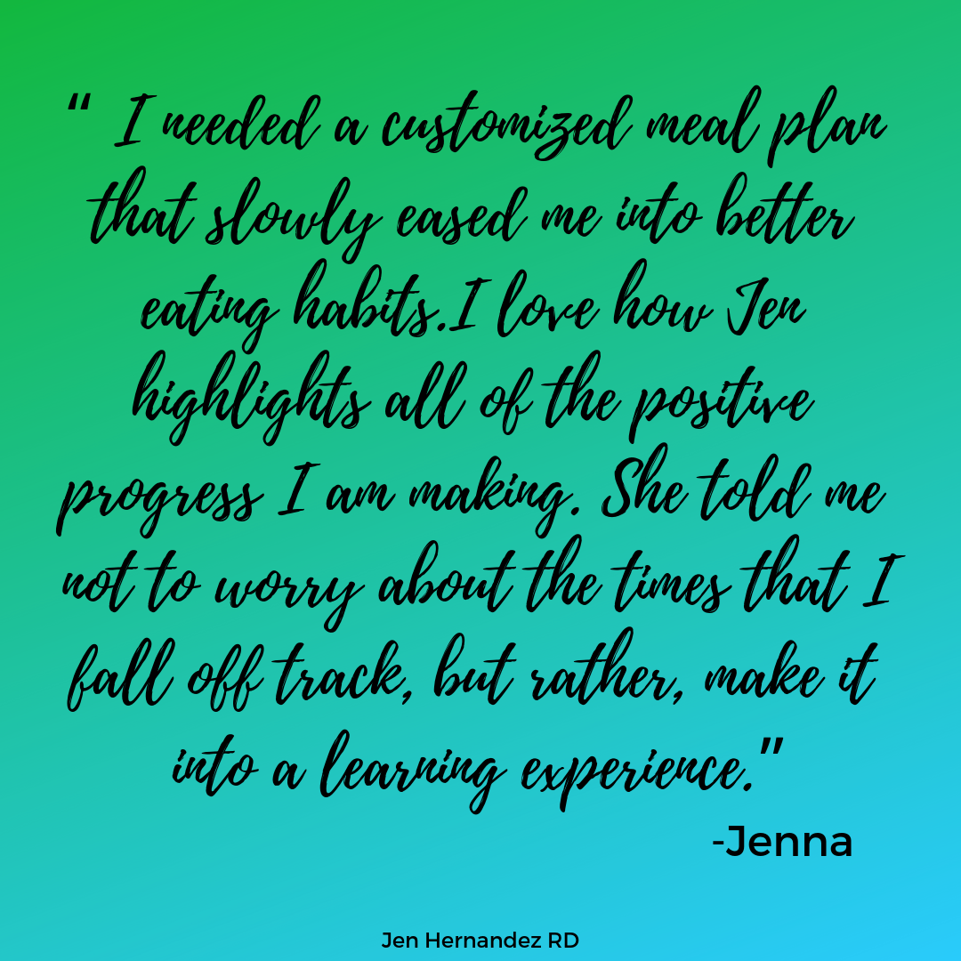 Jenna learned a lot about how to add more vegetables into her meals with tasty recipes that she truly enjoyed cooking (and eating)!