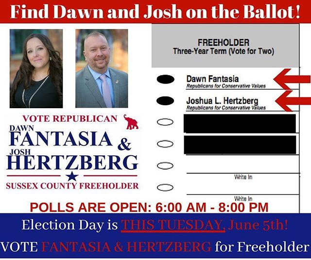 Find us on the #ballot this Tuesday, June 5th! #Vote Fantasia & Hertzberg for Sussex County Freeholder! #sussexcountynj #primaryelection #yourvotecounts #dawnjosh2018 #republicanstrong