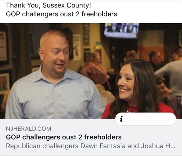 Thank you, Sussex County! 🇺🇸 #victory #dawnjosh2018 #republicans #freeholder #thankyou #primary2018 #sussexcountynj