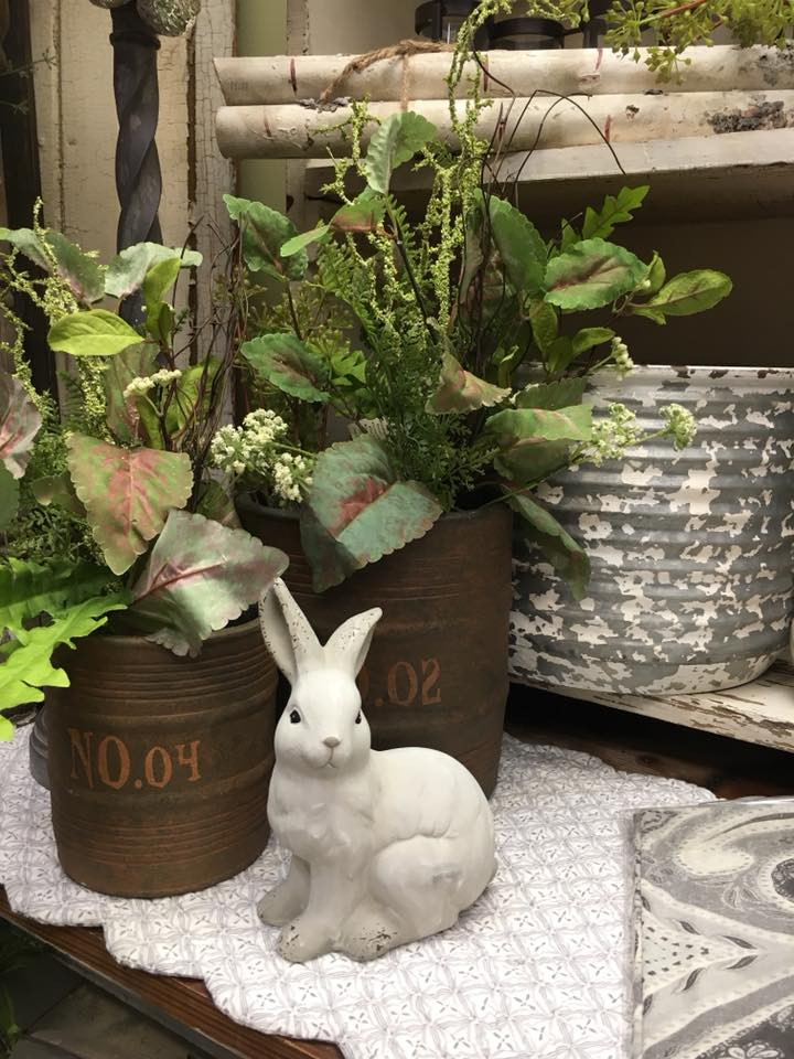 Sullivans floral and ceramic pots with bunny  Spring 2018.jpg
