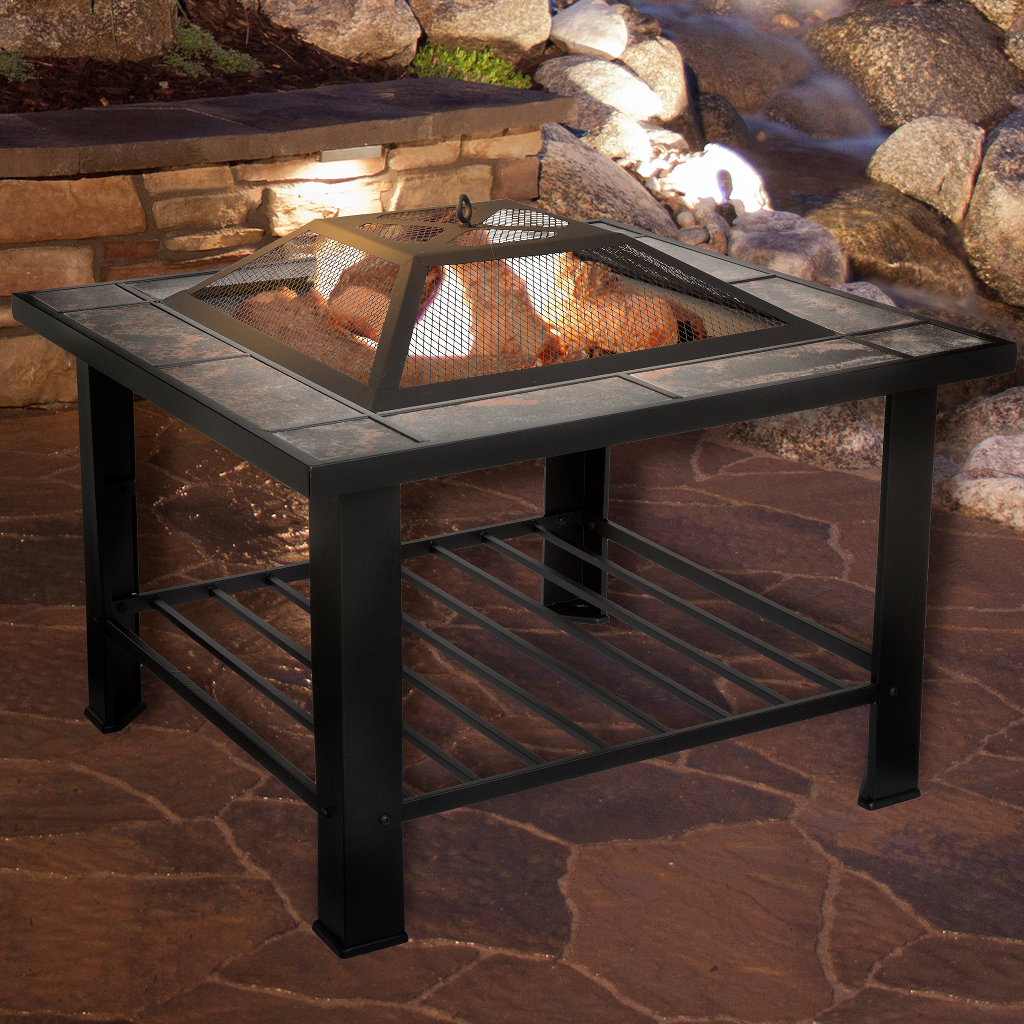 """30"""" Marble Tile Fire Pit"""