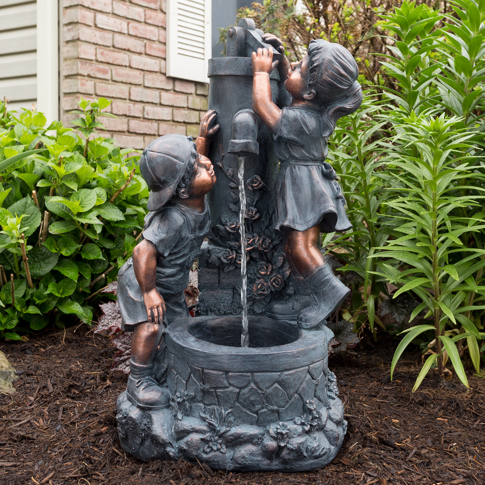 Bronze Boy and Girl Fountain