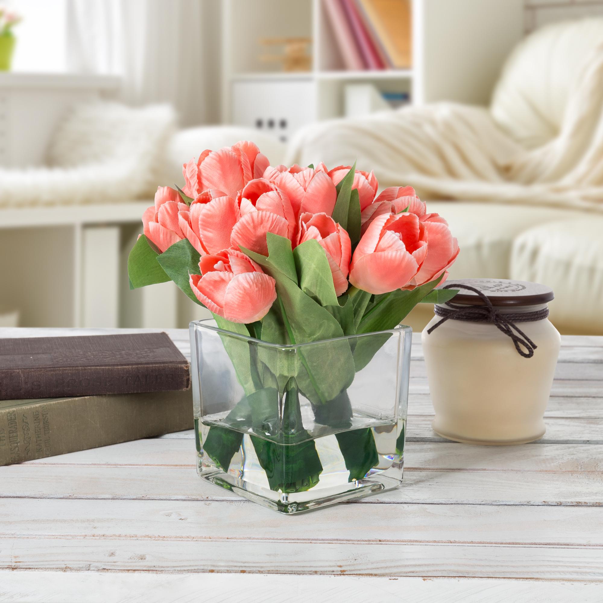 Tulips in Glass Vase