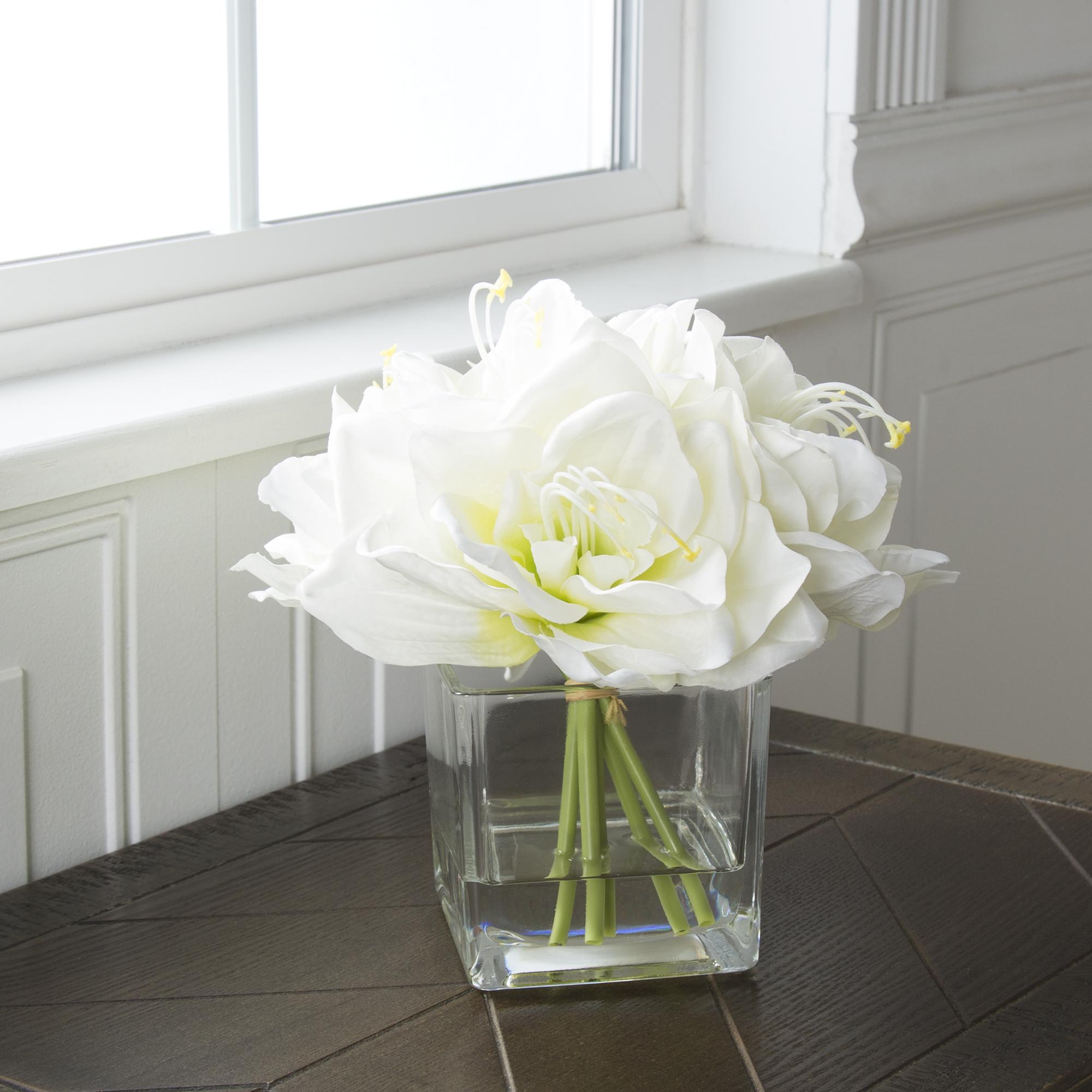 Garden Lilies in Glass Vase