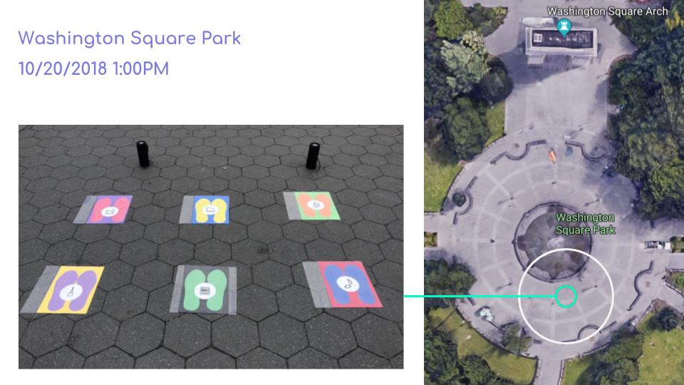 Intervention : Washington Square Park   Working in teams, deploy an intervention for a space that enables strangers to interact.  1. Your intervention may not include written or spoken language.  2. Your intervention may be of any type, scale, or media.  3.Your intervention should be site specific.  We picked Washington Square as a public space and we focus on the area starting from the arch to the fountain to make a interactive sound space.    公共の場で知らない人との交流を促すものを目的とし、チームでワシントンスクエアでの観測を行いそれに合わせてプロジェクトを作りました。このプロジェクトでは言葉を使わずに人が自然に体験をしたくなるようなものをその場所に合わせた形で作りました。  ワシントンスクエアはアーティストの場所でもあるので音楽を使うことにより新しいテクノロジーと公園との可能性を模索しています。  このプロジェクトはWIZARD OF OZプロトタイプなので人々の経験をデザインした上でのテクノロジーでの実際の応用を提案しています。   Project done by  Rian Ishikawa ,  Jimin Chung , and Qinglin Wang