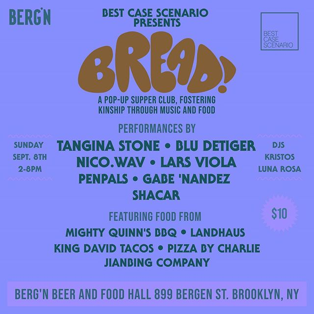 Tomorrow we're celebrating the last days of summer right with the first BREAD event /// An assortment of the best musicians, brews, n treats in Brooklyn. Come thru and kick it! Performances start at 2 🍞🍺🚀 @bergnbk @bestcasescenario.co