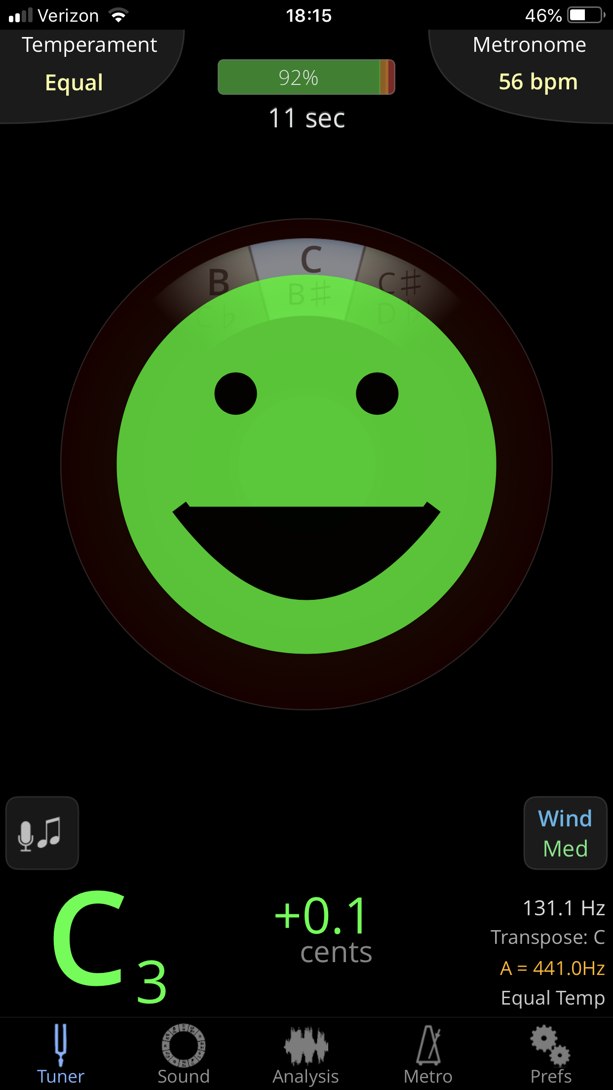 Plus… you get a nice smiley face when you're in tune. Screenshot of Tonal Energy.