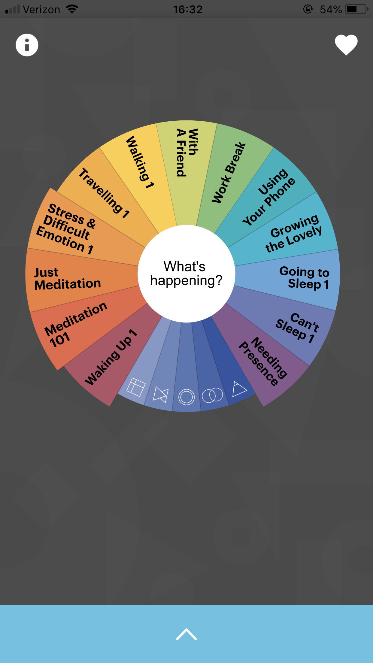 Screenshot of buddhify. The wheel is customizable — you can add and delete categories. Within each category are 5 or 6 different meditations of different lengths and focuses.