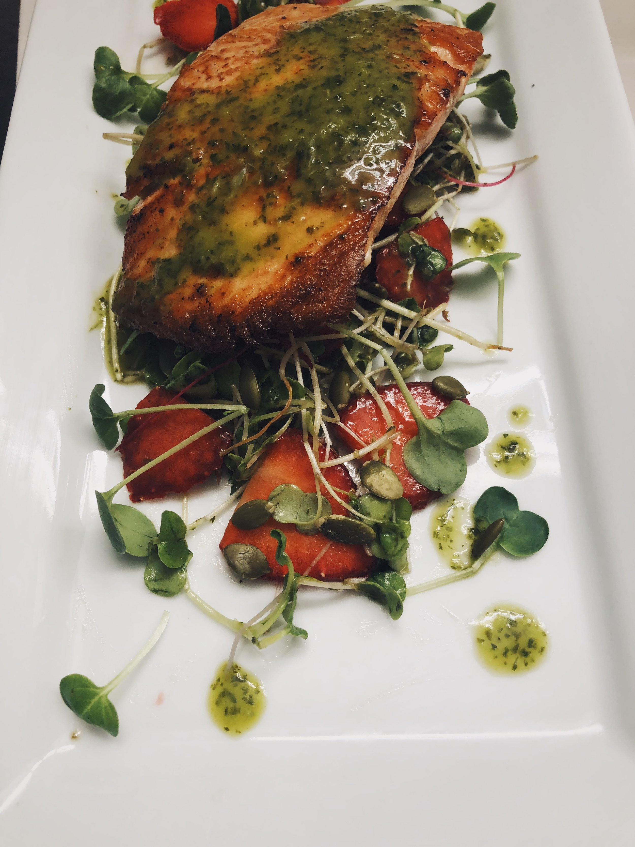 salmon with cilantro vinaigrette