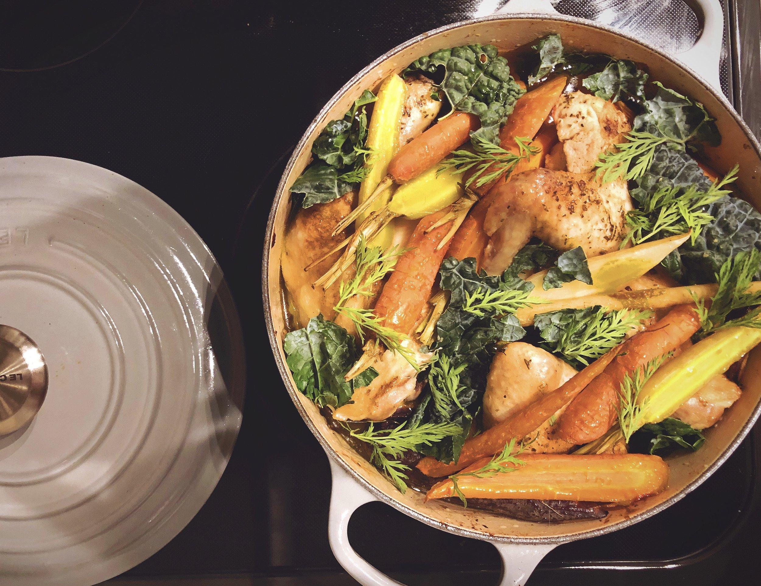 Roasted chicken stew