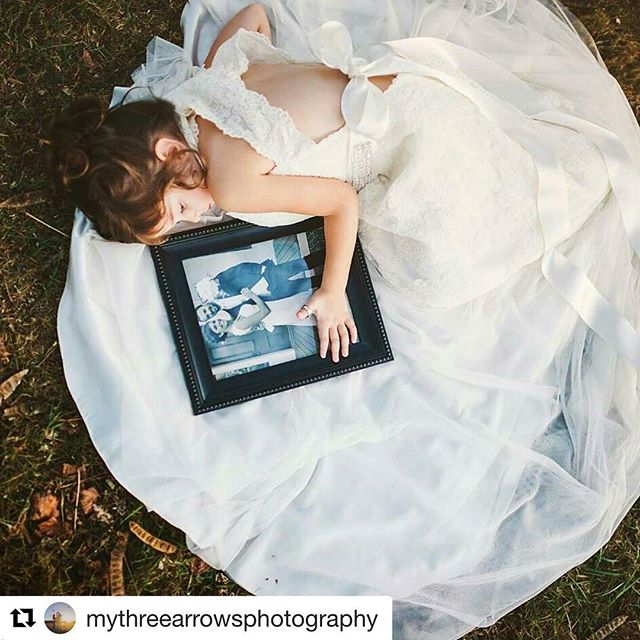 """""""This beautiful little girl lost her mother last year. She was so excited and proud to put on mommy's wedding dress and be photographed at her parents wedding venue."""" photo by @mythreearrowsphotography styled by @magic.maker ・・・ #Repost with @repostapp  #heartstringtugs #allthefeels #mommylittlegirl #mythreearrowsphotography #weddingdress #photoshoot"""