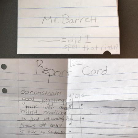 The report card that one of my 5th graders gave me showing where I'm doing well and where I need to make improvements.