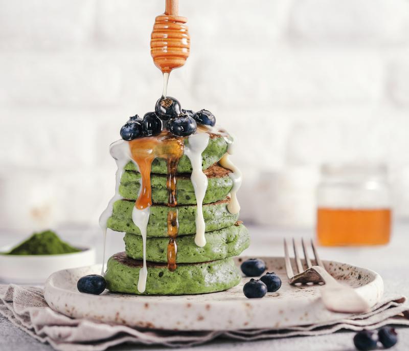 Matcha Green Tea pancakes using Herban Brand's Matcha Cleanse.