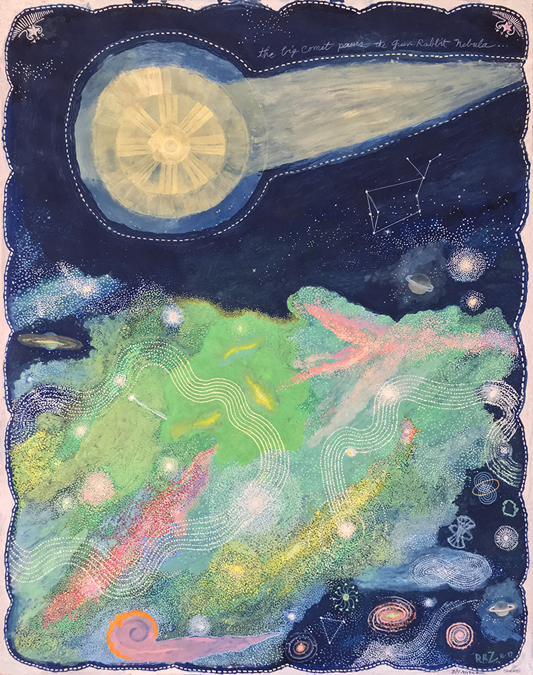 The Big Comet Passes The Green Rabbit Nebula (Celestial Series), 2017