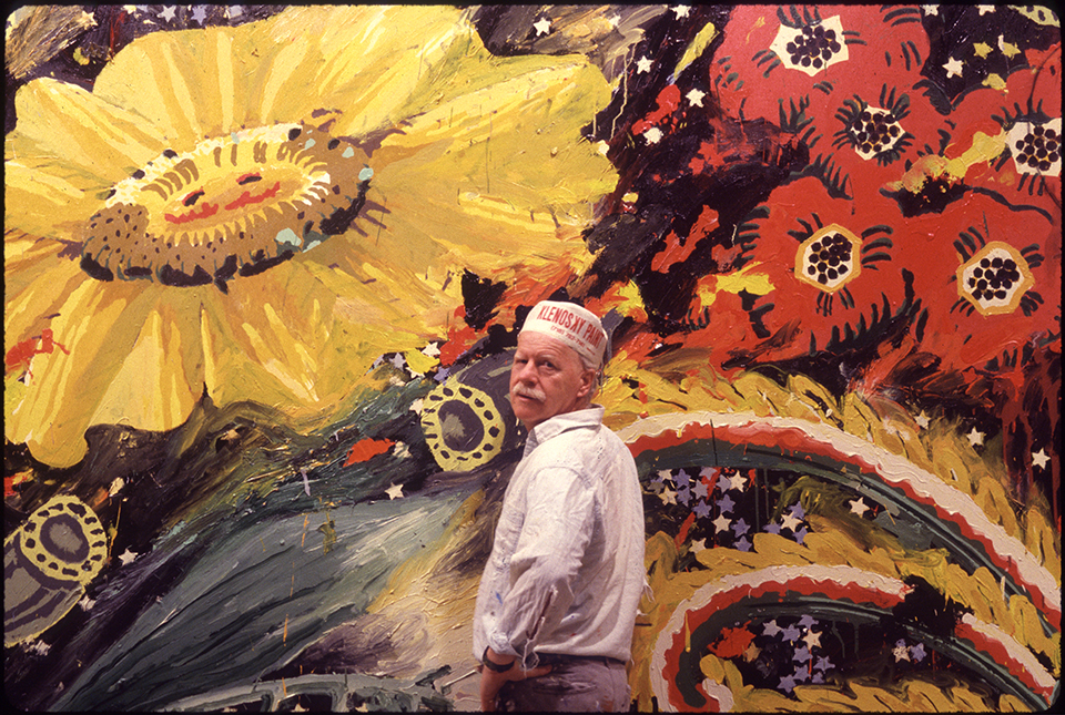 "Robert Zakanitch in front of his ""Big Bungalow Suite I,"" 1990-93, Acrylic on canvas, 11 x 30 ft."