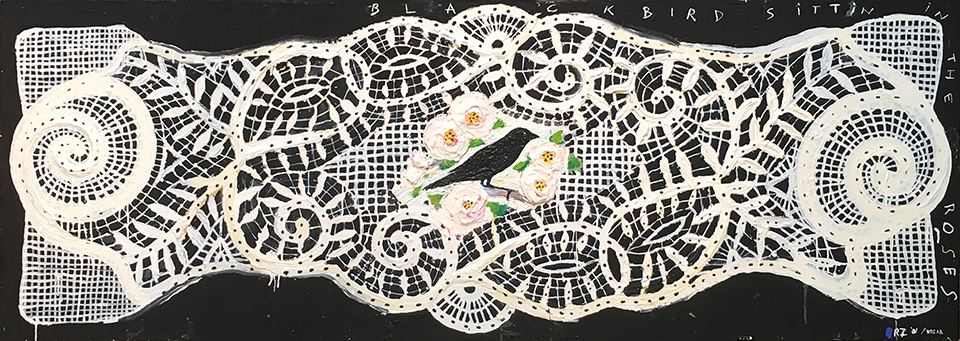 Blackbird sit'in in the roses (Lace Series), 2001