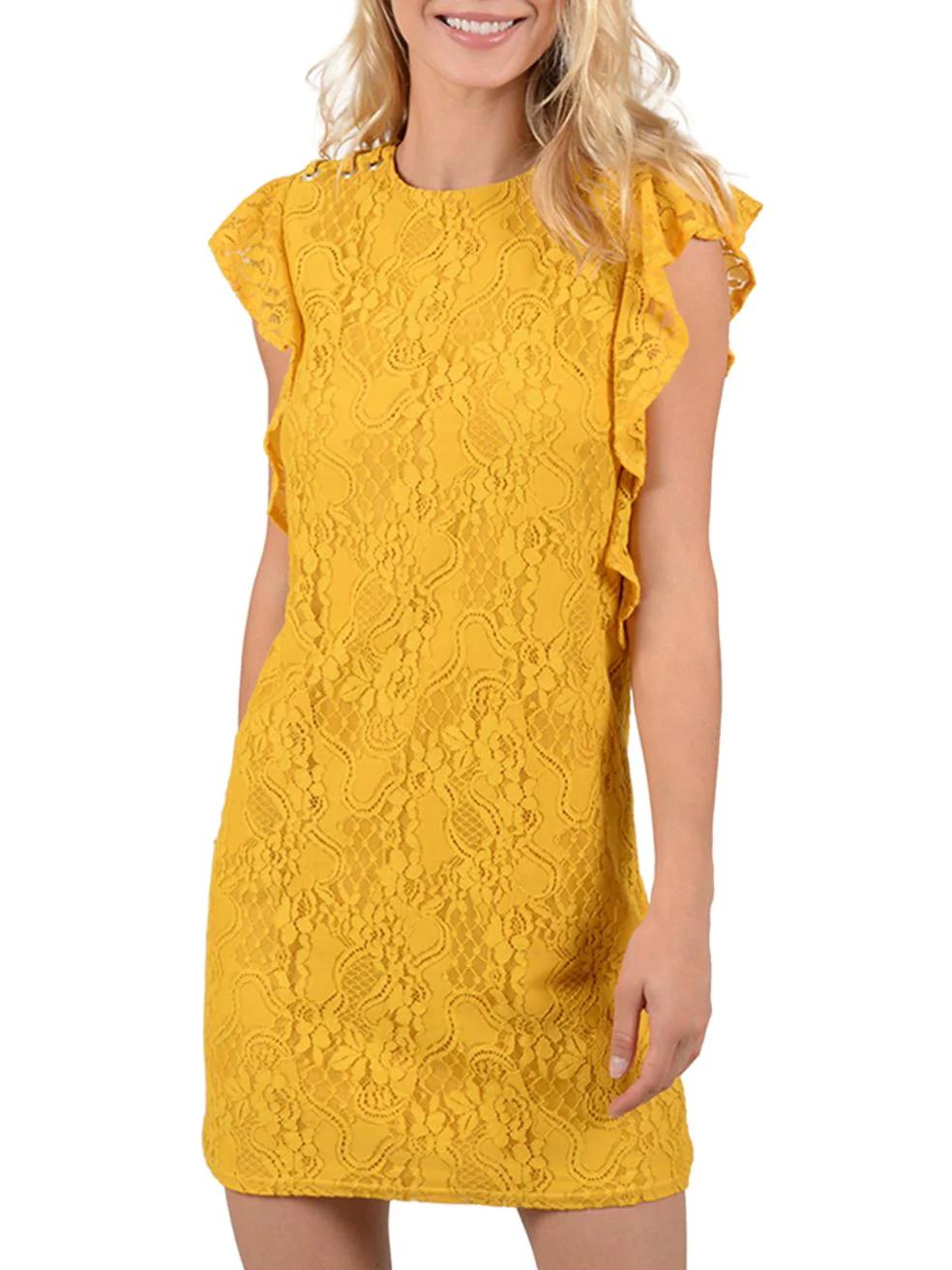 MOLLY BRACKEN. Ruffle lace shirt dress