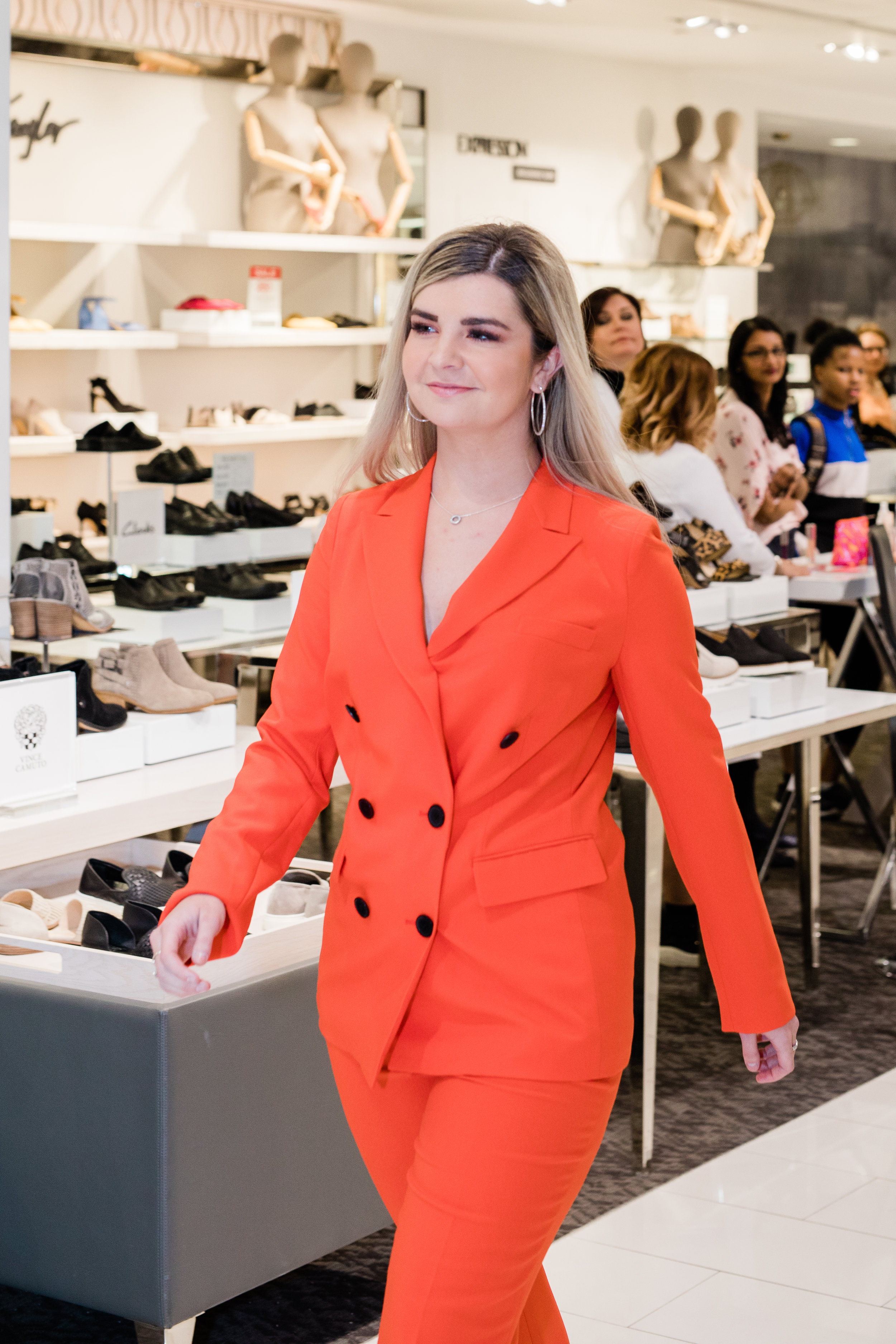 No.35 Tailoring - Tailored Suits make a statement, in any colour! The bright orange really pops and updates any wardrobe by Suitable for Work. Paired with black python print heels to elevate the style, this look is ready to take on the working-world with a pop of brightness!