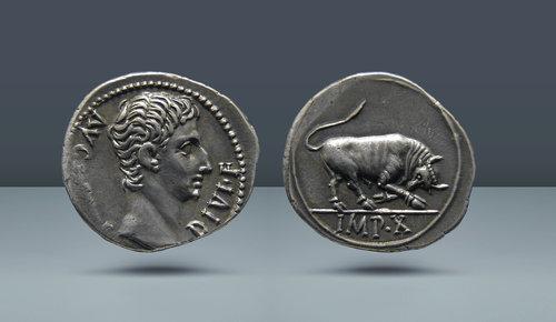 Augustus, MÖ 27 - MS 14.  Lugdunum (Lyon) Darphane, yak.  MÖ 15