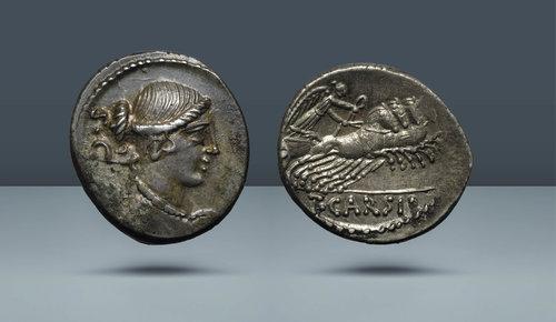Roma Cumhuriyeti.  T.Carisius IIIVIR.  Roma, MÖ 46