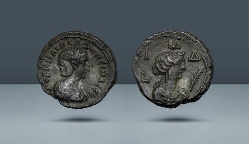 Gallienus'un karısı Salonina.  Gallienus saltanat tarihleri: MS 253-268.  İskenderiye.  c.  MS 266-267 (14. yıl)