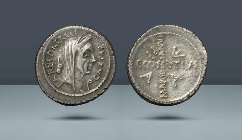 ROMA CUMHURİYETİ.  C. Cossutius Maridianus (Julius Caesar).  MÖ 44