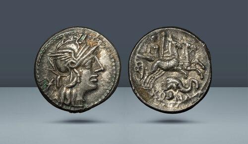 Roma Cumhuriyeti.  L. Caecilius Metellus Diadematus.  Roma, c.  MÖ 128