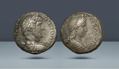 MISIR, İskenderiye.  Hadrian, Sabina ile birlikte, MS 117-138.  İskenderiye, Tarihli RY 16 (AD 131/132)