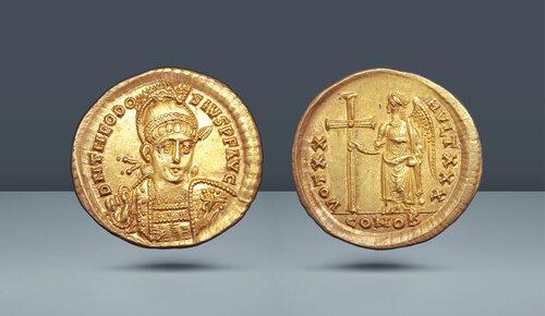Roma imparatorluğu.  Theodosius II.  402-450 AD.  Konstantinopolis, c.  420-421