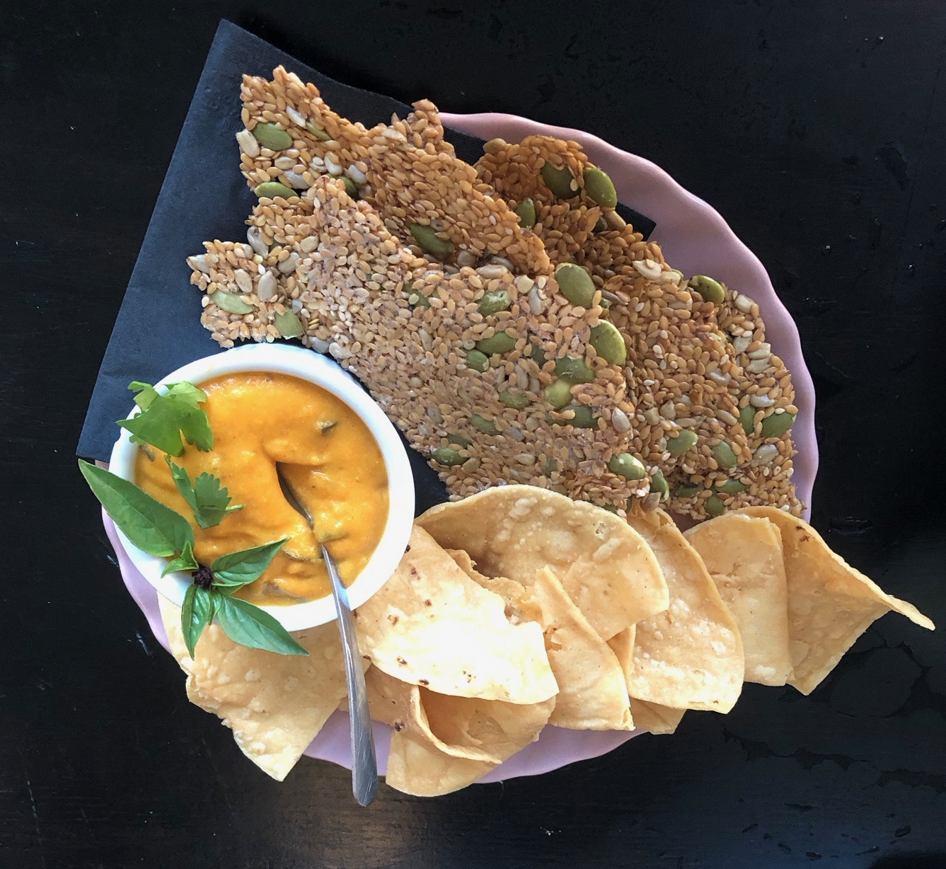 carrot queso dip & chips -